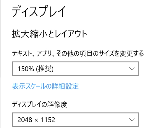 ディスプレイの解像度2048×1152
