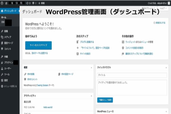 WordPress管理画面(ダッシュボード)
