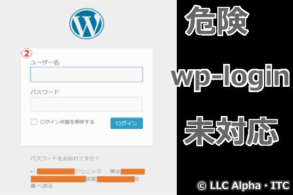 ログイン画面(Wp-login.php)が公開されている